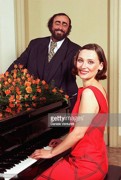 Opera Star Luciano Pavarotti poses with his wife Nicoletta Mantovani for a portrait session in 1998. The tenor has died at the age of 71 at his home...