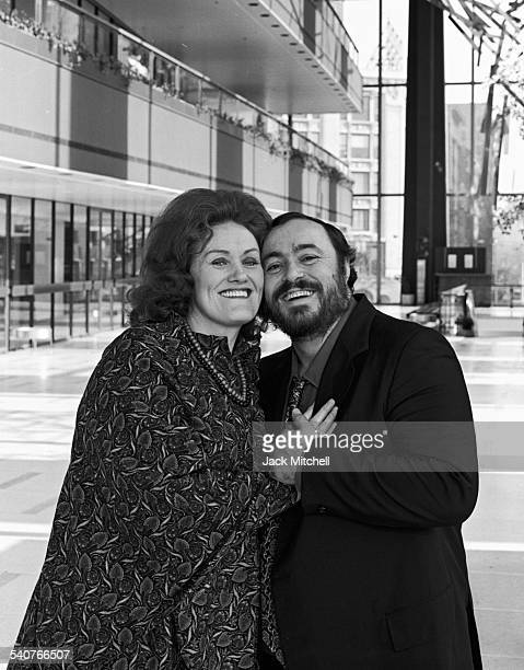 Opera stars Luciano Pavarotti and Joan Sutherland photographed at Lincoln Center in January 1979