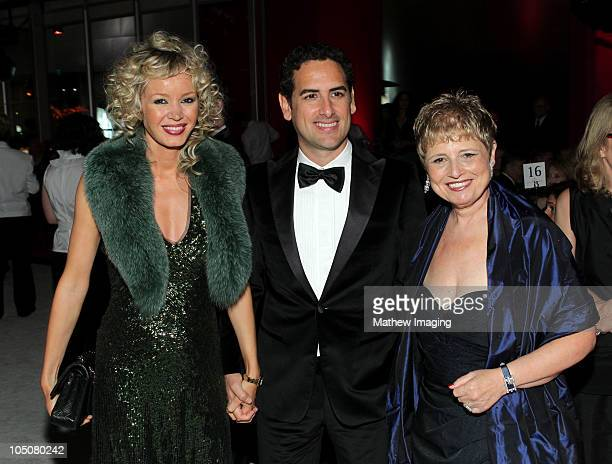 Opera tenor Juan Diego Flórez and his wife Julia Trappe with President and CEO of the Los Angeles Philharmonic Deborah Borda attend the Los Angeles...