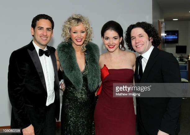 Opera tenor Juan Diego Flórez his wife Julia Trappe Music Director Gustavo Dudamel and his wife Eloísa Maturén attend the Los Angeles Philharmonic...