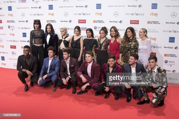 Operacion Triunfo 2018 team attends the red carpet during 'Jose Maria Forque Awards' 2019 at Palacio de Congresos on January 12 2019 in Zaragoza Spain