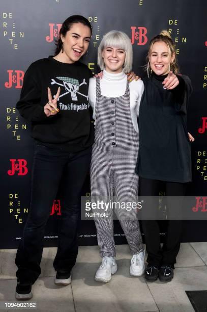OT 'Operacion Triunfo' singers Marta Alba Reche and Maria attends 'De Repente' theater play at Lara Theater in Madrid Spain February 05 2018