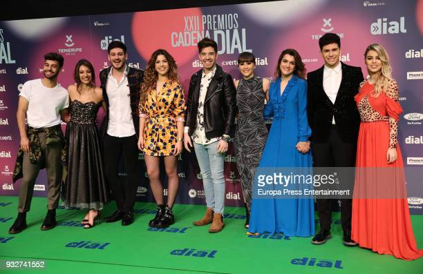 Operacion Triunfo team attend the 'Cadena Dial' Awards 2018 red carpet on March 15 2018 in Tenerife Spain