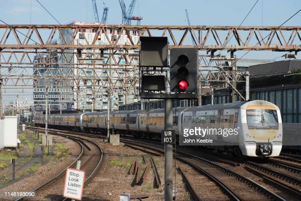 C2C operated train pulls out from Fenchurch Street Station on April 30 2019 in London England