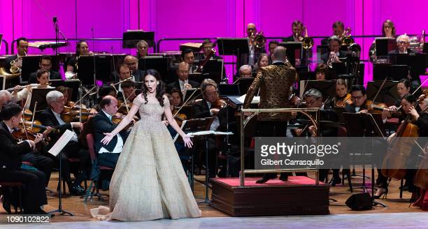 Operatic soprano Aida Garifullina and The Philadelphia Orchestra Music Director Yannick NezetSeguin perform on stage during the 162nd Academy Of...