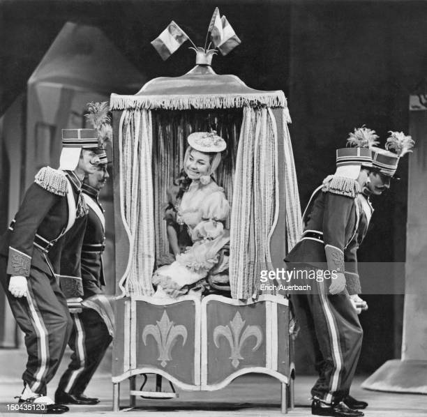Operatic soprano Margaret Neville as Princess Hermia in a rehearsal for the centenary production of Jacques Offenbach's operetta 'Bluebeard' at...