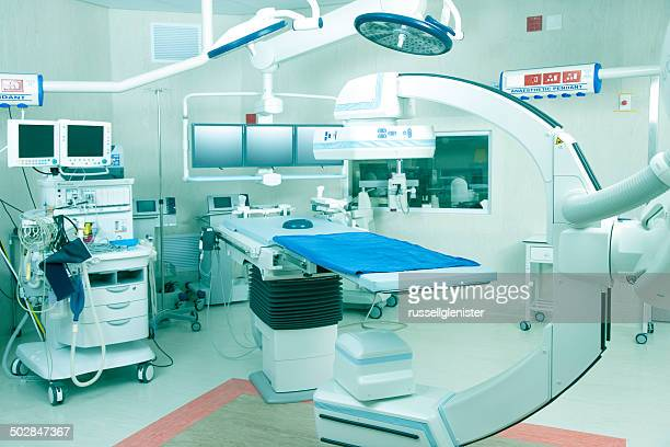 Operating room in hospital with robotic imaging system