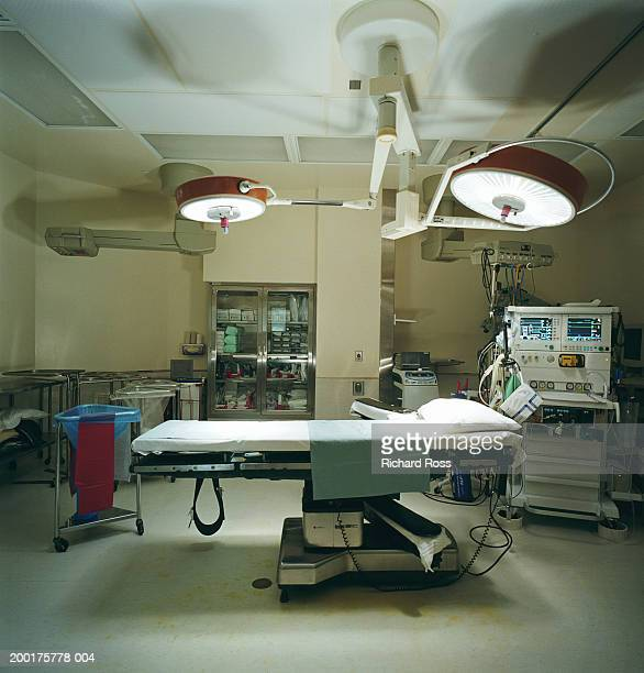 Operating room, lights shining on operating table