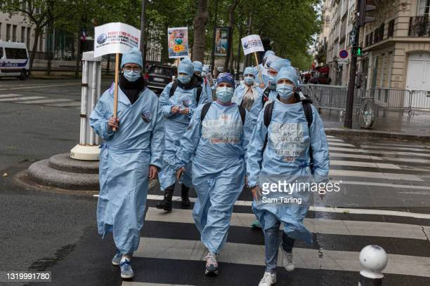 """Operating room nurses strike to protest the """"contempt"""" shown to them in a overhaul of France's healthcare system, the """"Ségur de la santé"""", as they..."""