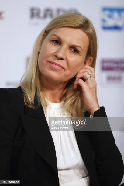 Operating tournament director Anke Huber talks to the media during the closing press conference on day 7 of the Porsche Tennis Grand Prix at...
