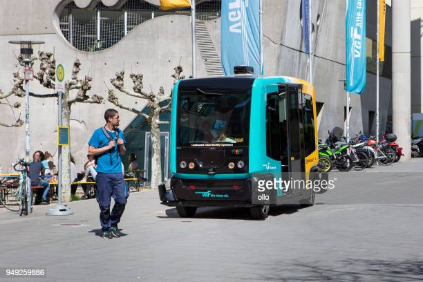 operating trial of a driverless transport system named cube (continental urban mobility experience) - autonomous technology stock pictures, royalty-free photos & images