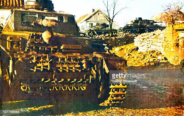 Operation Barbarossa Several german tanks have entered a village 1941 They are on the way to the front and part of over 45 million troops of the Axis...