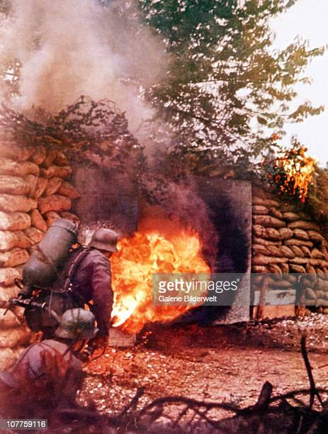 Operation Barbarossa Two Wehrmacht soldiers are attacking a bunker on the Eastern Front in Russia 1941 They are using the flamethrower 41 which was...
