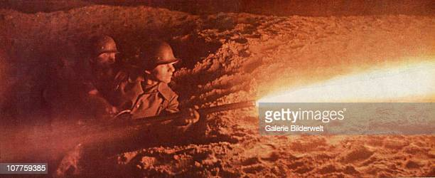 Operation Barbarossa Wehrmacht soldiers are attacking a bunker on the Eastern Front in Russia 1941 They are using the flamethrower 41 which was...