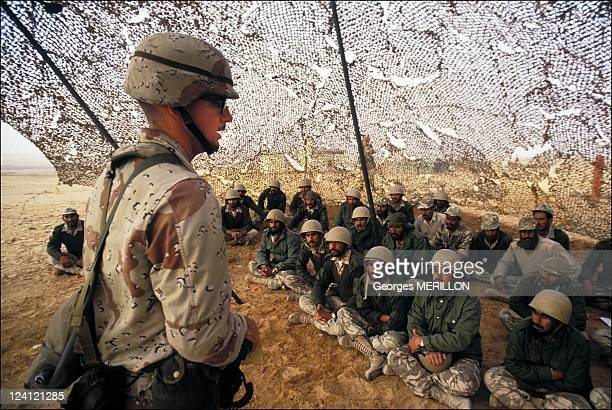 Operation Desert Shield 82nd airborne drills In Saudi Arabia On December 14 1990 US instructor before Saudi Arabian troops