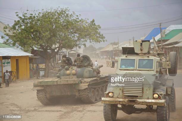 Operation Indian Ocean was headed by the Ugandan contingent of AMISOM to retake the town of Kurtonwarey in Lower Shabelle. A Casspir passes a T-55 in...