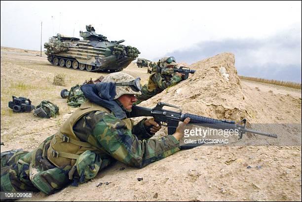 Operation Iraqi Freedom British And Us Troops Around Basrah On March 22 2003 In Bassorah Iraq Us Marines