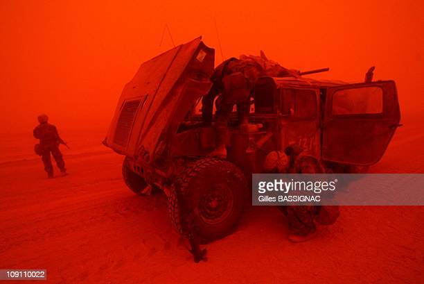 Operation Iraqi Freedom Day 6 Sand Storm On The Road To Baghdad Between An Nasiriyah And An Najaf On March 25 2003 In Iraq The Sand Storm Hinders The...