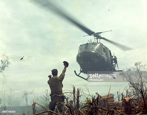Operation Jeb Stuart III south of Quang Tri Viet Nam 1968 Soldier guiding a Huey helicopter into landing