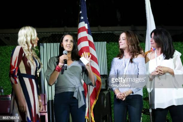 Operation Mend Melanie Gideon Program Director greets Christina Geist on stage with Dana Katz at the UCLA Operation Mend 10 Year Anniversary at the...