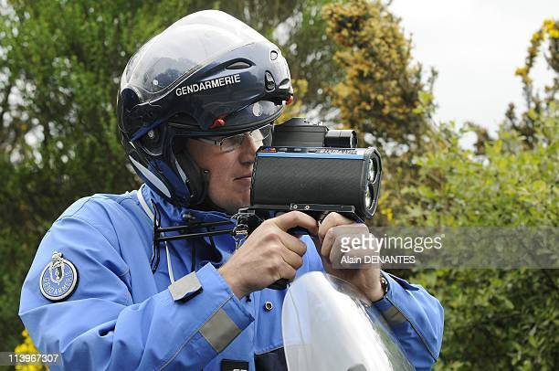 Operation of road security with speed control by motorized policemen on a Nantes SaintNazaire road In Nantes France On April 29 2009Bikers of the...