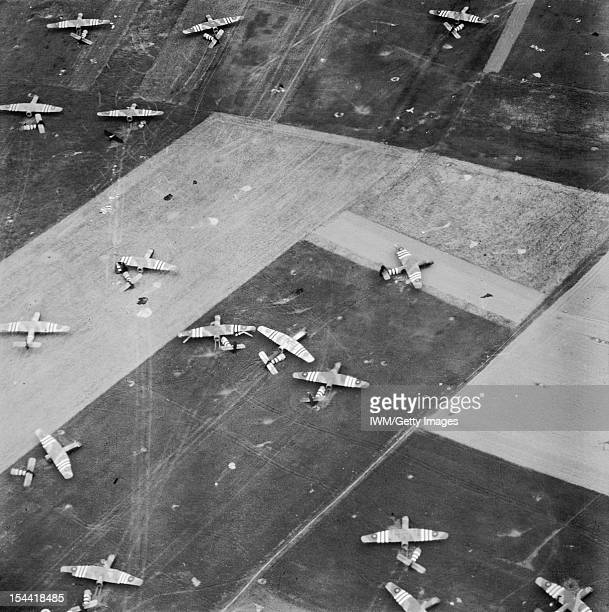 Operation Overlord DDay 6 June 1944 The Airborne Assault Oblique aerial view of parachutes and Airspeed Horsa gliders on 6th Airborne Division's...