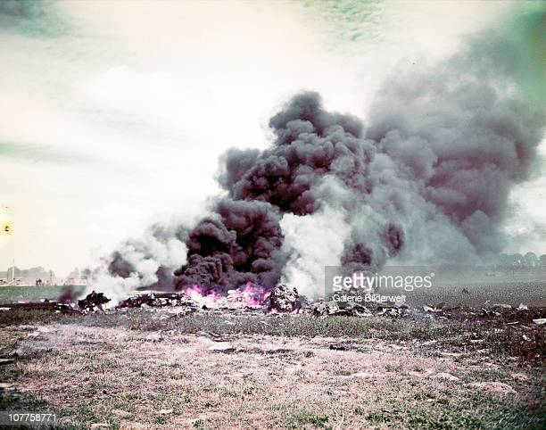 Operation Overlord Normandy An Allied plane has crashed during the fighting in Normandy June 1944 Whatever is left is burning France