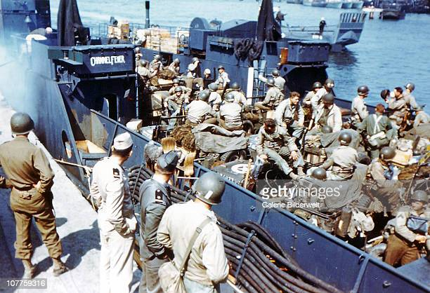 Operation Overlord Normandy Soldiers of the 1st Infantry Division of the United States Army have boarded the Landing Craft Transport named 'Channel...