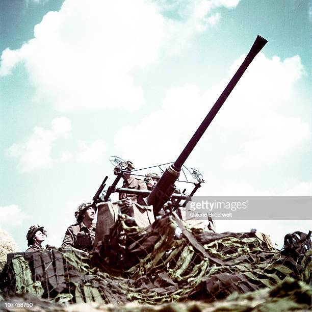 Operation Overlord Normandy Soldiers of the 3rd Canadian Infantry Division have set up an antiaircraft Bofors 40 mm/L60 with the Britishdesigned...