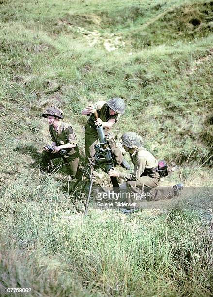 Operation Overlord Normandy Soldiers of the 3rd Canadian Infantry Division have set up a mortar on Juno Beach where they landed on DDay on the...