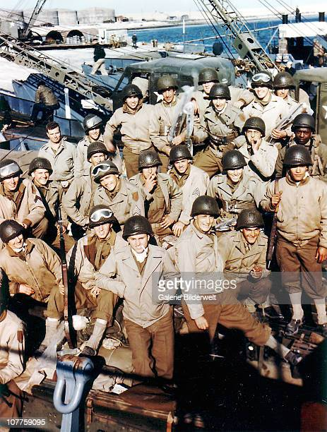 Operation Overlord Normandy The 1st Infantry Division of the United States Army is waiting for departure to Omaha Beach Normandy France 5th June 1944...