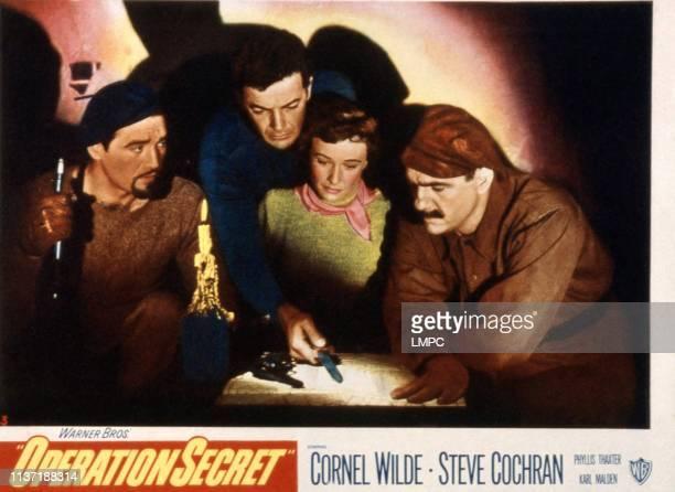 Operation Secret lobbycard Steve Cochran Cornel Wilde Phyllis Thaxter Karl Malden 1952