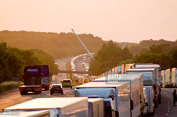 operation stack m20 motorway ashford kent - ashford kent stock photos and pictures