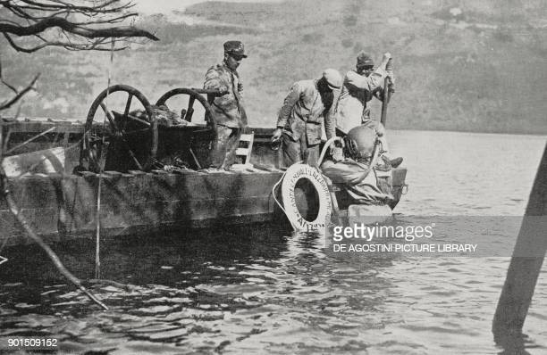 Operation to recover the Roman emperor Caligula's ships from the bed of Lake Nemi Lazio Italy from L'Illustrazione Italiana Year LV No 15 April 8 1928