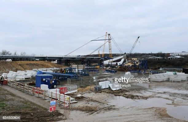 Operations begin as the final 100 metre centrepiece of Sunderland's new River Wear crossing is gradually lifted into position on February 10 2017 in...