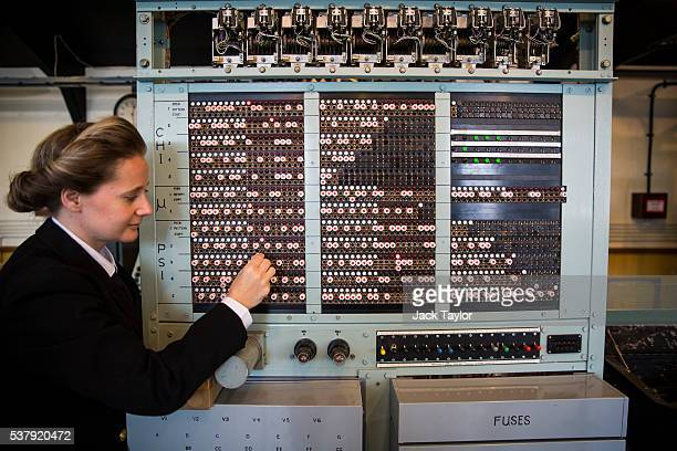 Operations Director at The National Museum of Computing Victoria Alexander demonstrates how the Tunny Machine was used during World War II at Block H...
