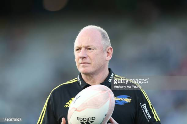 Operations Manager Tony Ward of the Hurricanes looks on prior to the round 6 Super Rugby Aotearoa match between the Blues and the Hurricanes at Eden...