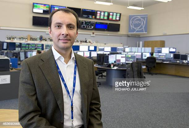 ROUX LHC operator Mirko Pojer poses on February 10 2015 at the CERN Control Center at the European Organisation for Nuclear Research in Meyrin near...