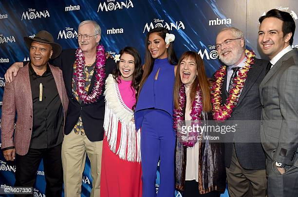 Opetaia Foa'i director John Musker Auli'i Cravalho Nicole Scherzinger producer Osnat Shurer director Ron Clements and LinManuel Miranda attend the UK...