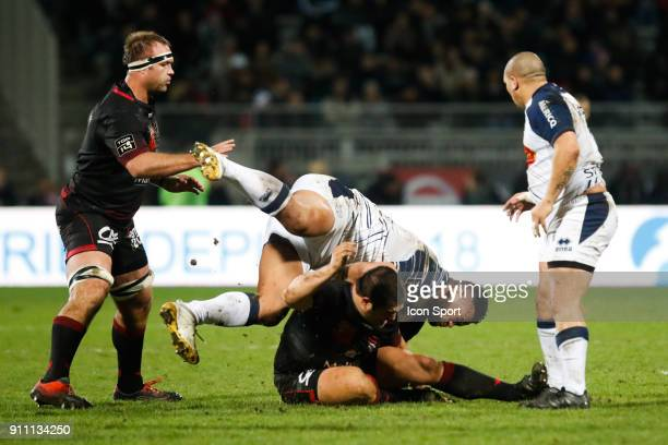 Opeti Fonua of Agen and Albertus Buckle of Lyon during the Top 14 match between Lyon and Agen at Gerland Stadium on January 27 2018 in Lyon France