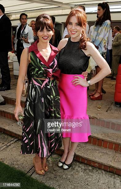 Ophelia Lovibond and Angela Scanlon attend the Audi International Polo at Guards Polo Club on July 28 2013 in Egham England