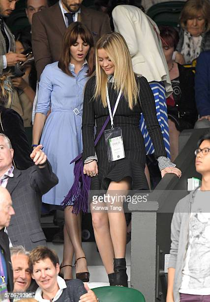 Ophelia Lovibond and Laura Whitmore attend day eight of the Wimbledon Tennis Championships at Wimbledon on July 04 2016 in London England