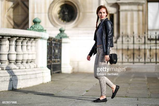 Ophelie Duvillard model and fashion blogger wears Bobbies shoes IKKS snake print leggings pants a Primark gray wool turtleneck top a Newlook black...