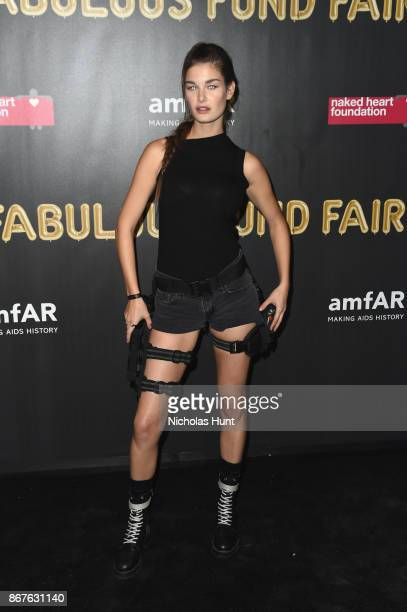 Ophelie Guillermand attends the 2017 amfAR The Naked Heart Foundation Fabulous Fund Fair at Skylight Clarkson Sq on October 28 2017 in New York City
