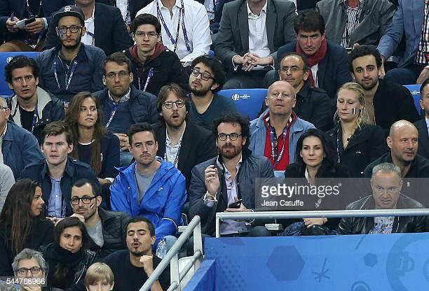 Ophelie Meunier and Mathieu Vergne Marie Drucker and Mathias Vicherat above Eric Zemmour attend the UEFA Euro 2016 quarter final match between France...