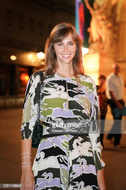 Ophelie Meunier is seen outside the Longchamp 70th Anniversary Celebration at Opera Garnier on September 11 2018 in Paris France