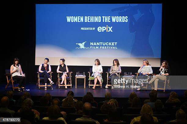 """Ophira Eisenberg, Leslye Headland, Lili Taylor, Cynthia Littleton, Jacqueline Bissett, Nancy Dubuc and Stacy L. Smith attend the """"Women Behind The..."""