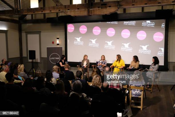 Ophira Eisenberg Nancy Schwartzman Miranda Bailey Alysia Reiner Jeanne Tripplehorn and Sera Gamble speak onstage during Women Behind the Words at the...
