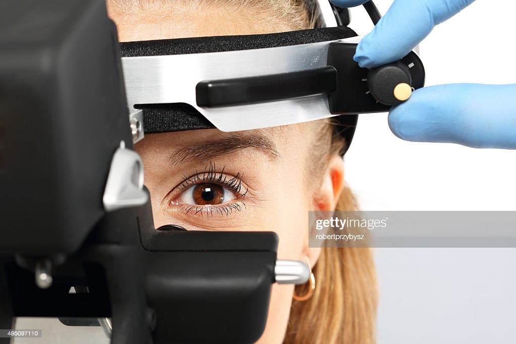 Ophthalmologist - binocular sight glass, ophthalmoscope : Stock Photo
