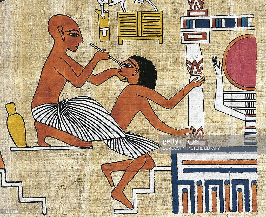 Ophthalmologist treating a patient, papyrus, reconstruction of a fresco from the Theban tomb of Ipi, originally dating back to the Dynasty XIX. Egyptian civilisation. : News Photo